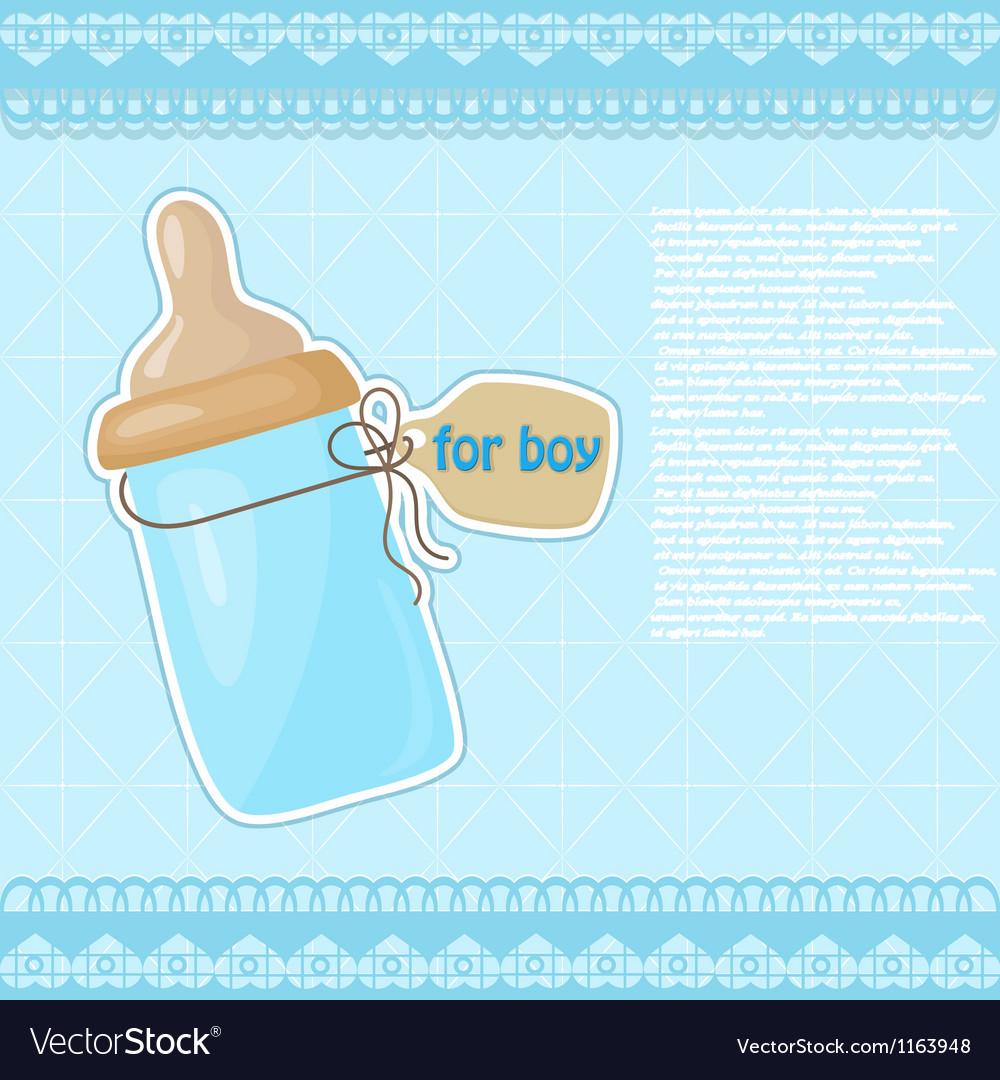 Vintage blue patterned bottle of milk for the boy vector | Price: 1 Credit (USD $1)