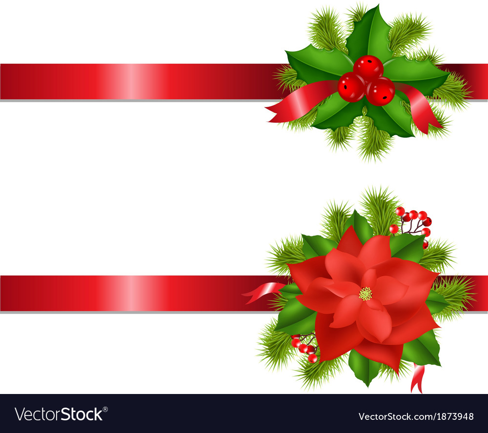 Winter flower and berry with ribbons vector | Price: 1 Credit (USD $1)