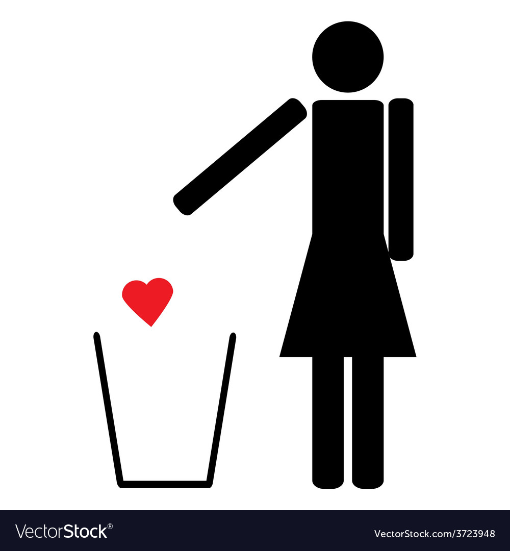 Woman throws a red heart in the trash vector | Price: 1 Credit (USD $1)