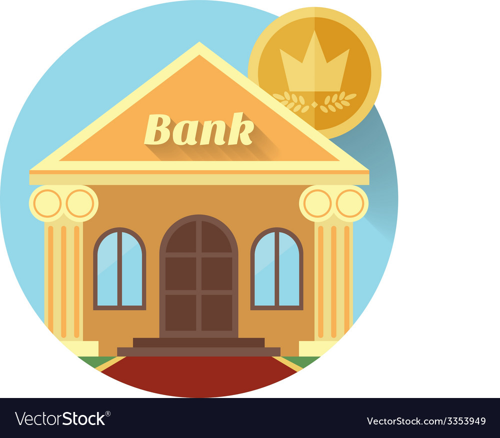 The bank and coin icon made in flat design vector | Price: 1 Credit (USD $1)