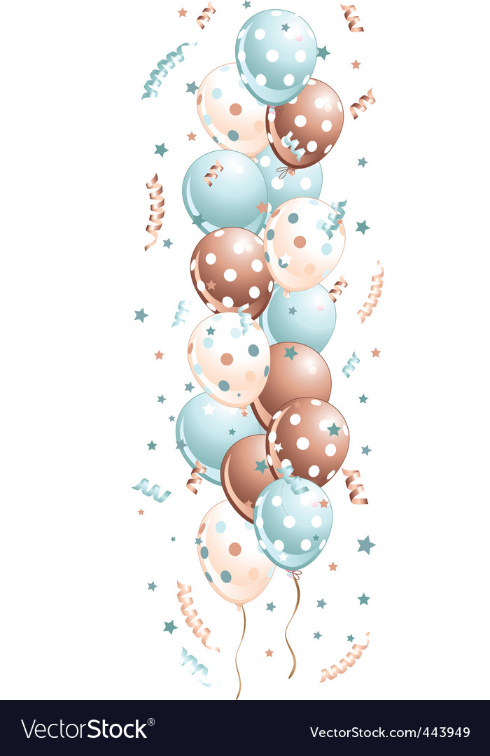 Blue holiday balloons in line vector | Price: 1 Credit (USD $1)