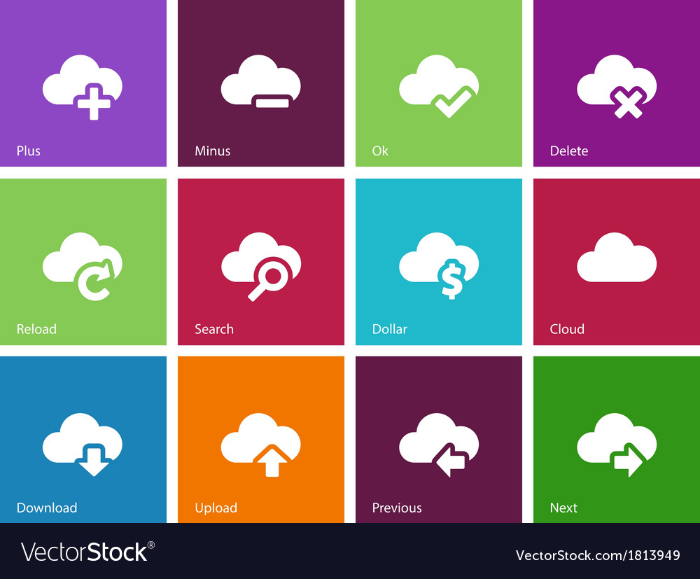 Cloud icons on color background vector | Price: 1 Credit (USD $1)