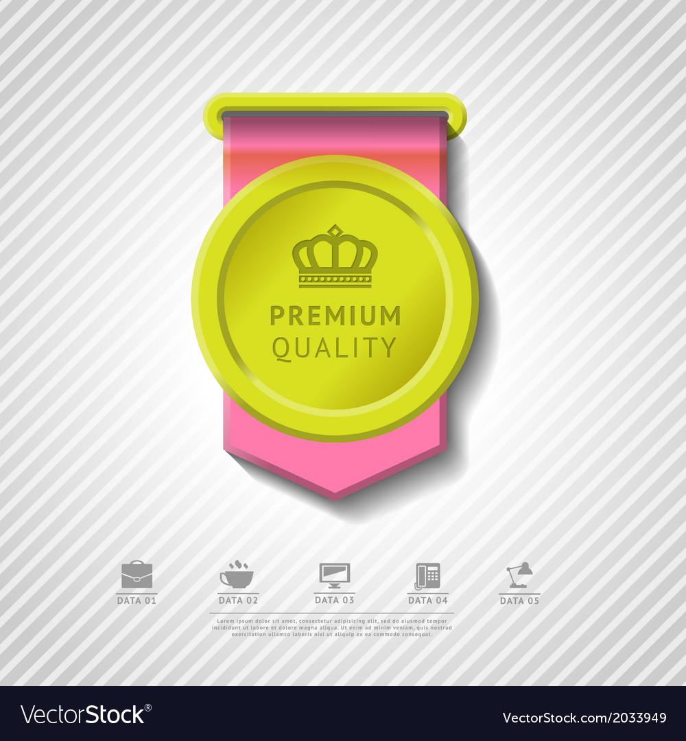 Colorful premium quality badge vector | Price: 1 Credit (USD $1)