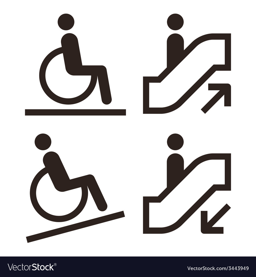Escalator and facilities for disabled symbols vector | Price: 1 Credit (USD $1)