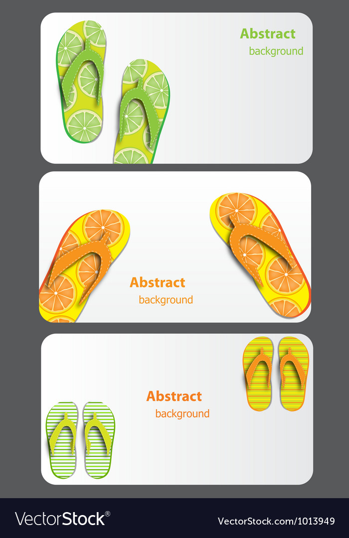Gift card with flip flops isolated on white vector | Price: 1 Credit (USD $1)