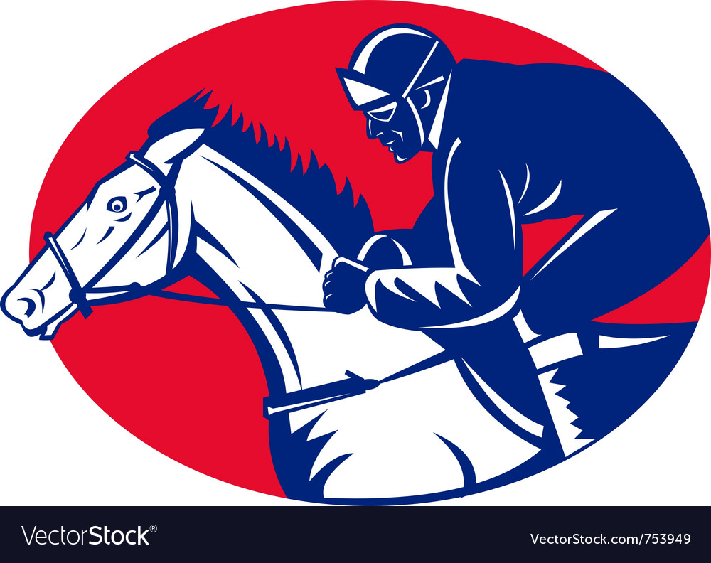 Horse and jockey racing side view vector | Price: 1 Credit (USD $1)
