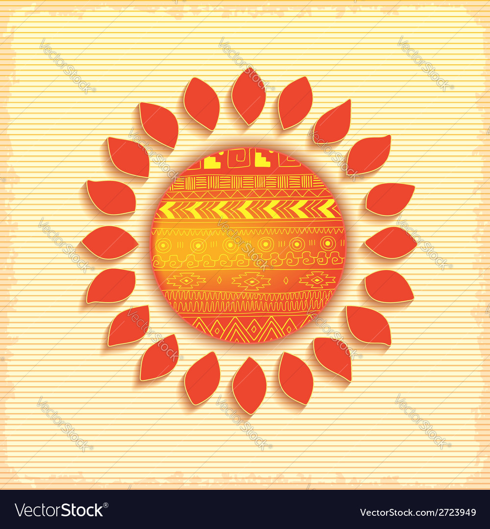Hot abstract ethnic sun vector | Price: 1 Credit (USD $1)