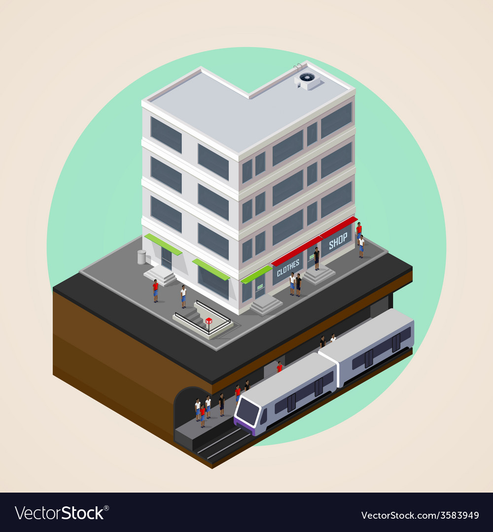 Isometric 3d of city street building and metro vector | Price: 1 Credit (USD $1)