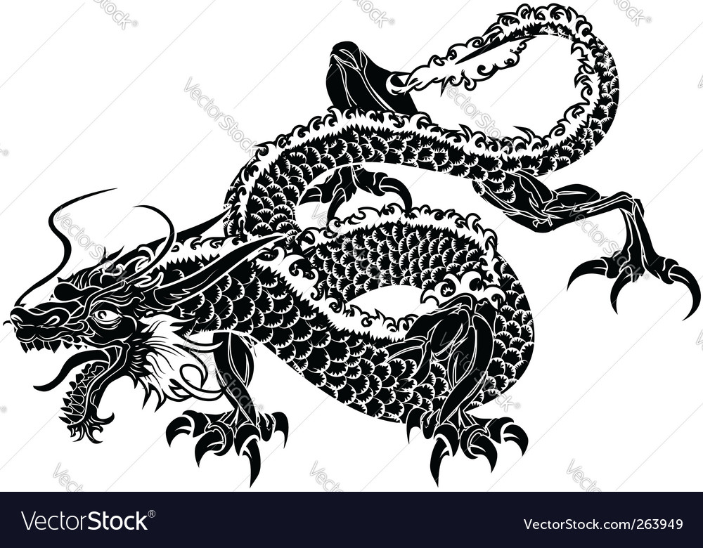 Japanese dragon vector | Price: 1 Credit (USD $1)