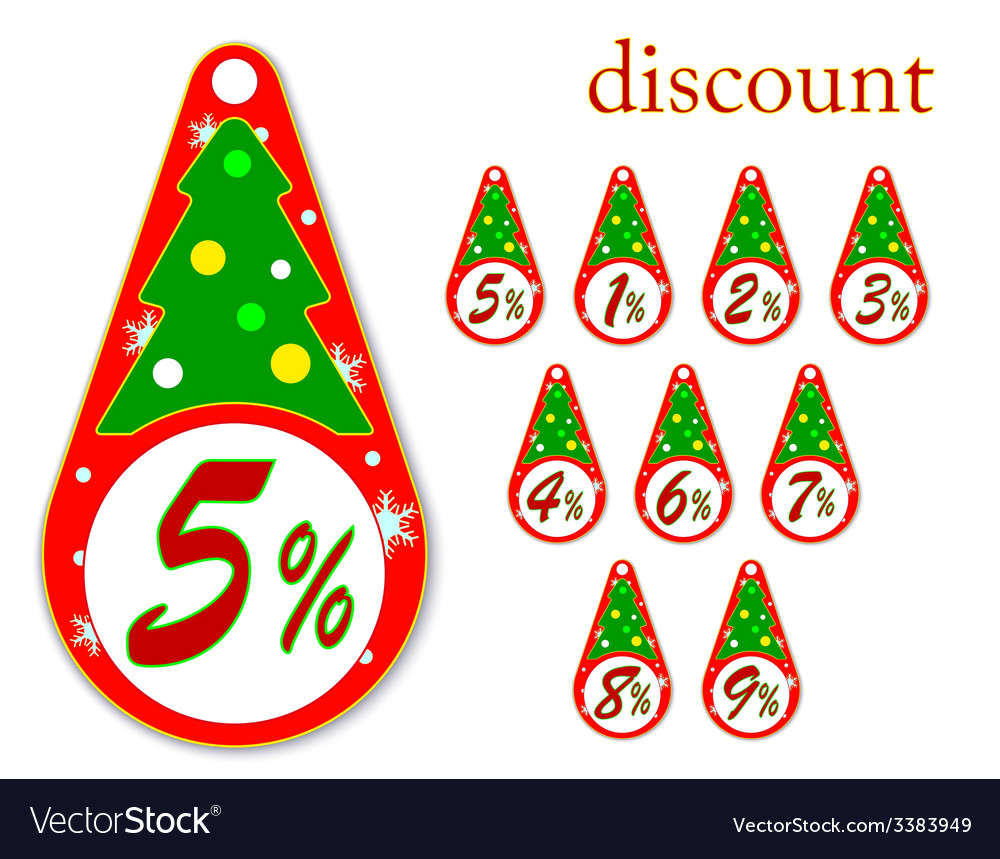 Labels with christmas tree discount vector | Price: 1 Credit (USD $1)