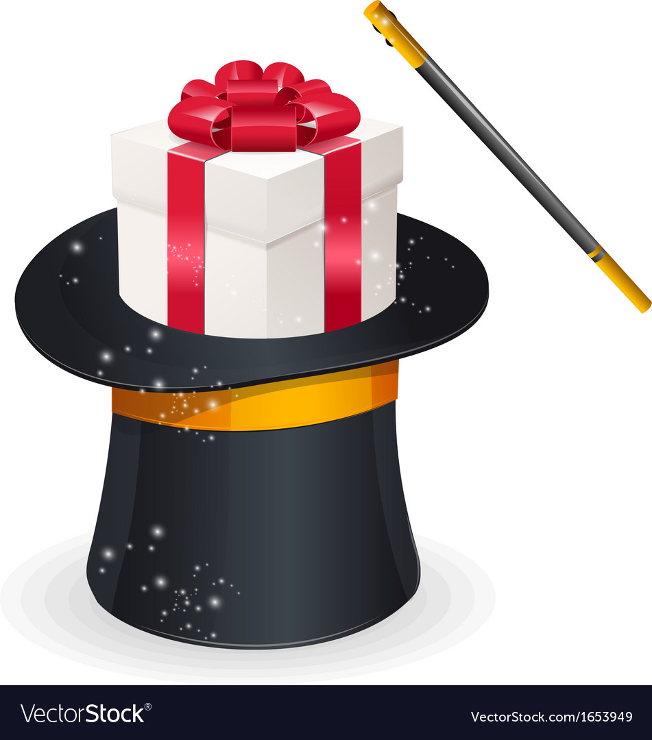 Magic hat and gift box present concept vector | Price: 1 Credit (USD $1)
