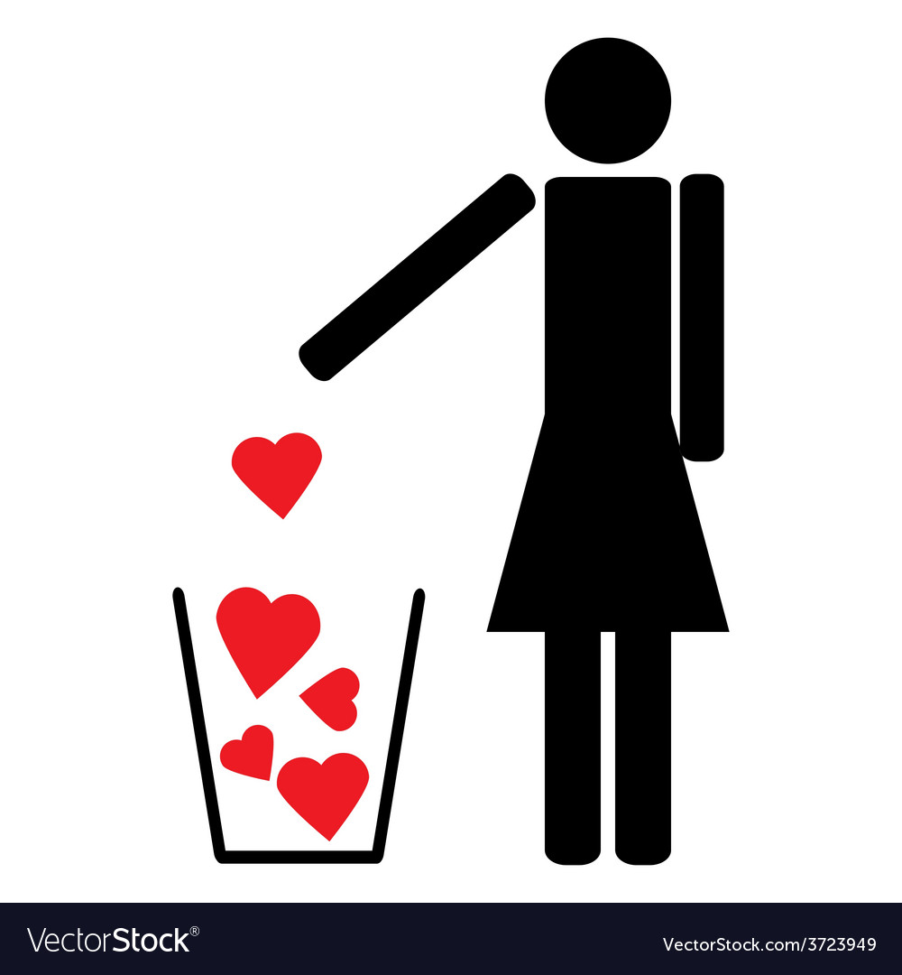 Man throws out a few red hearts in the trash vector | Price: 1 Credit (USD $1)