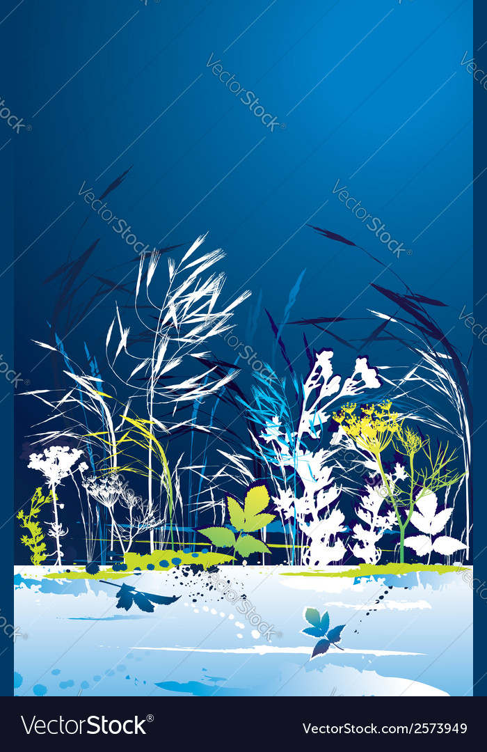 Many tracing silhouettes grass leafs flower vector | Price: 1 Credit (USD $1)