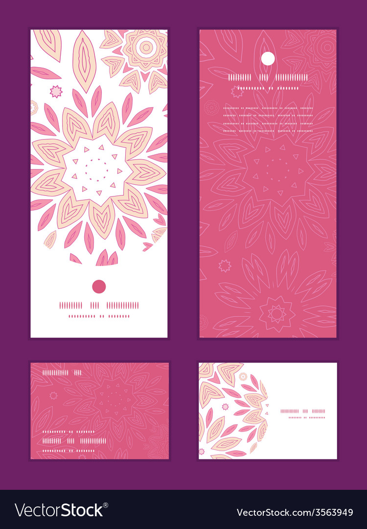 Pink abstract flowers vertical frame pattern vector | Price: 1 Credit (USD $1)