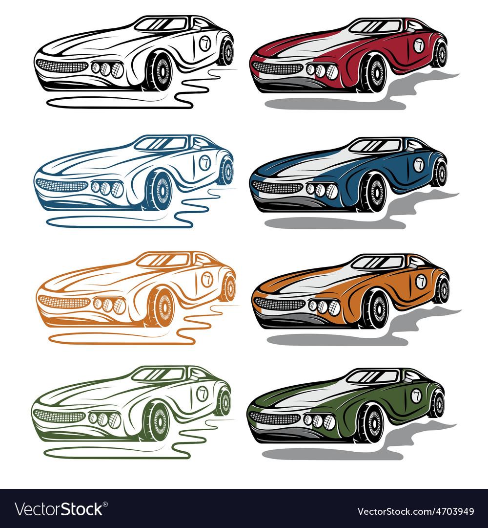 Set of vintage sport car vector   Price: 1 Credit (USD $1)