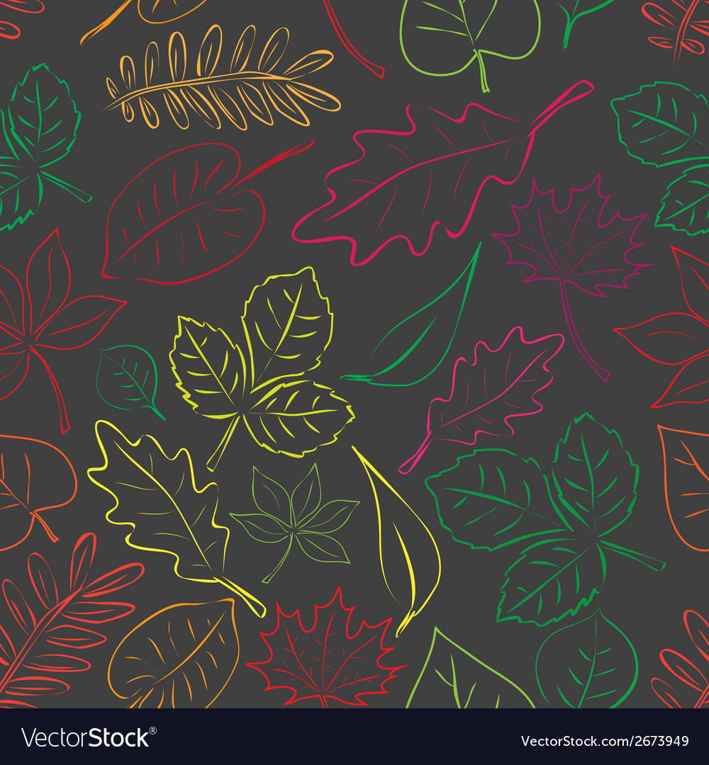 Simple autumn leaf dark and color seamless pattern vector | Price: 1 Credit (USD $1)
