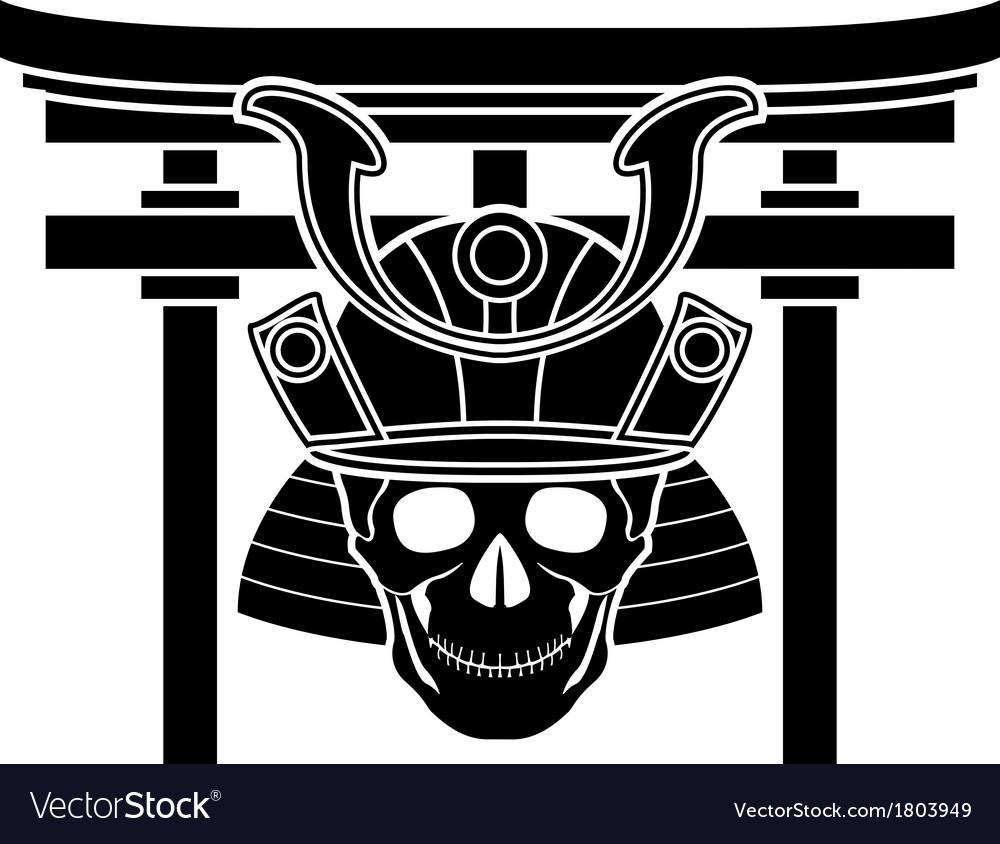 Skull of samurai and torii gate vector | Price: 1 Credit (USD $1)