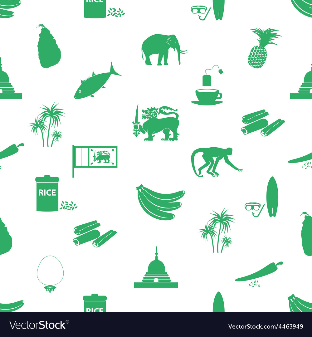 Sri-lanka country symbols seamless green pattern vector   Price: 1 Credit (USD $1)