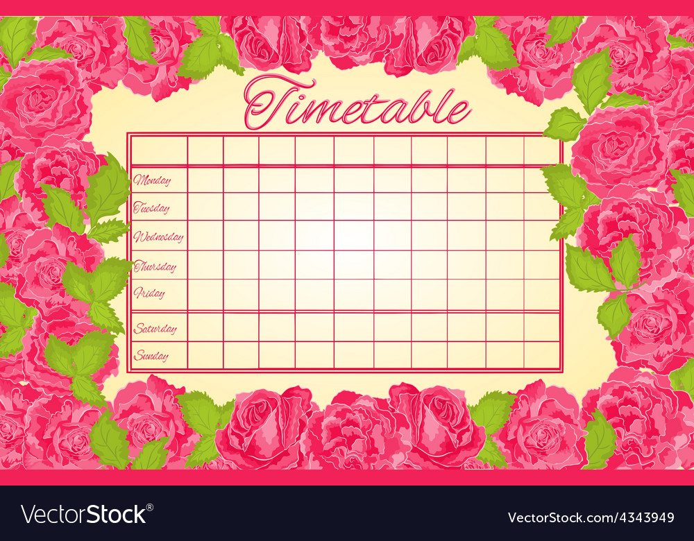 Timetable weekly schedule with pink roses vector | Price: 1 Credit (USD $1)