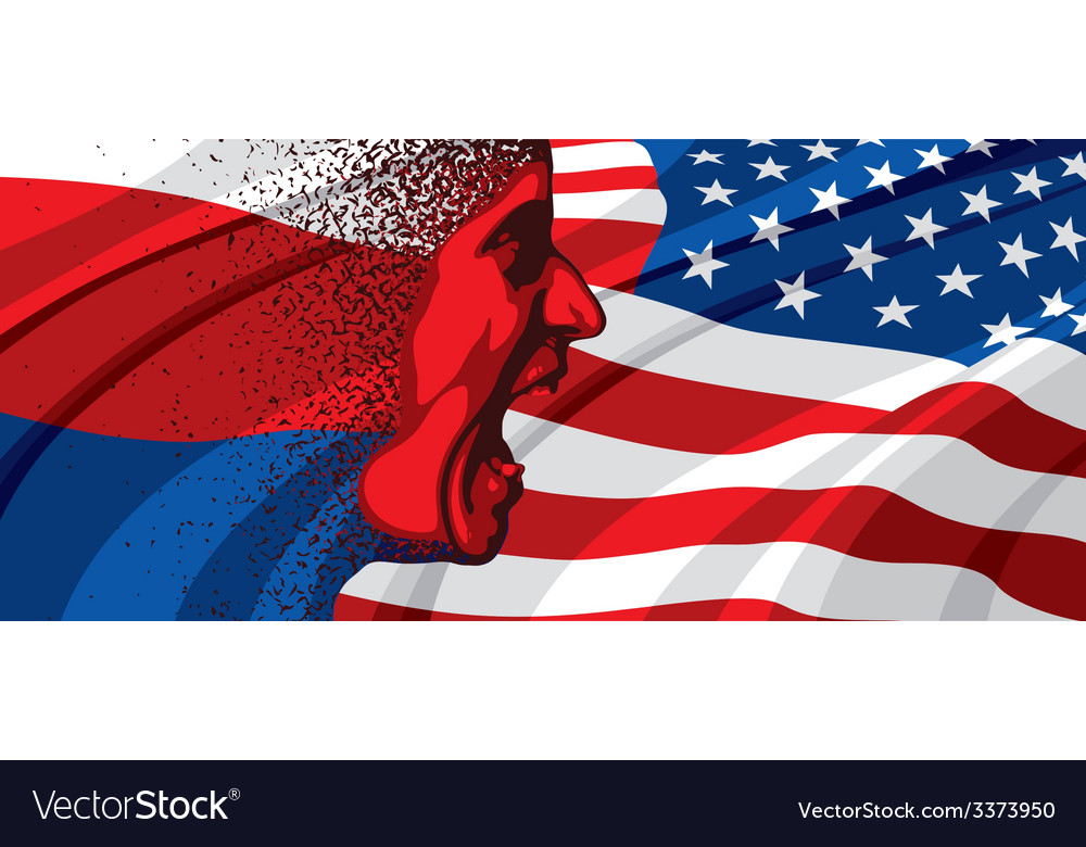 Angry face of russia to usa vector | Price: 3 Credit (USD $3)