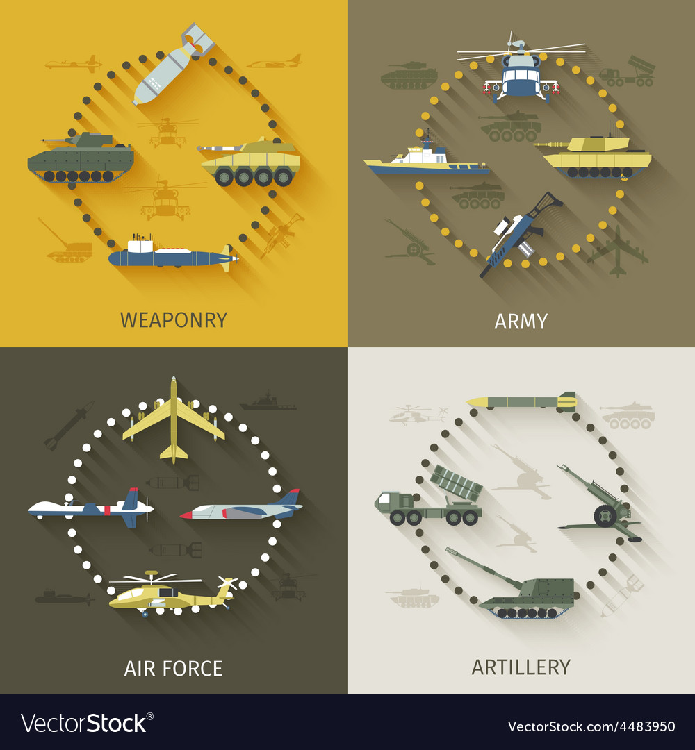 Army flat set vector | Price: 1 Credit (USD $1)