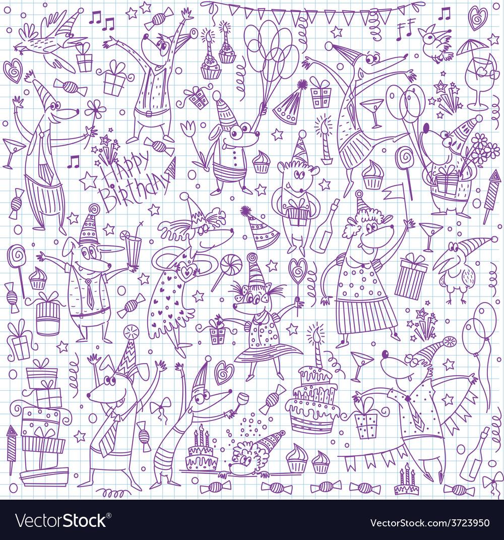 Birthday sketch set vector | Price: 1 Credit (USD $1)