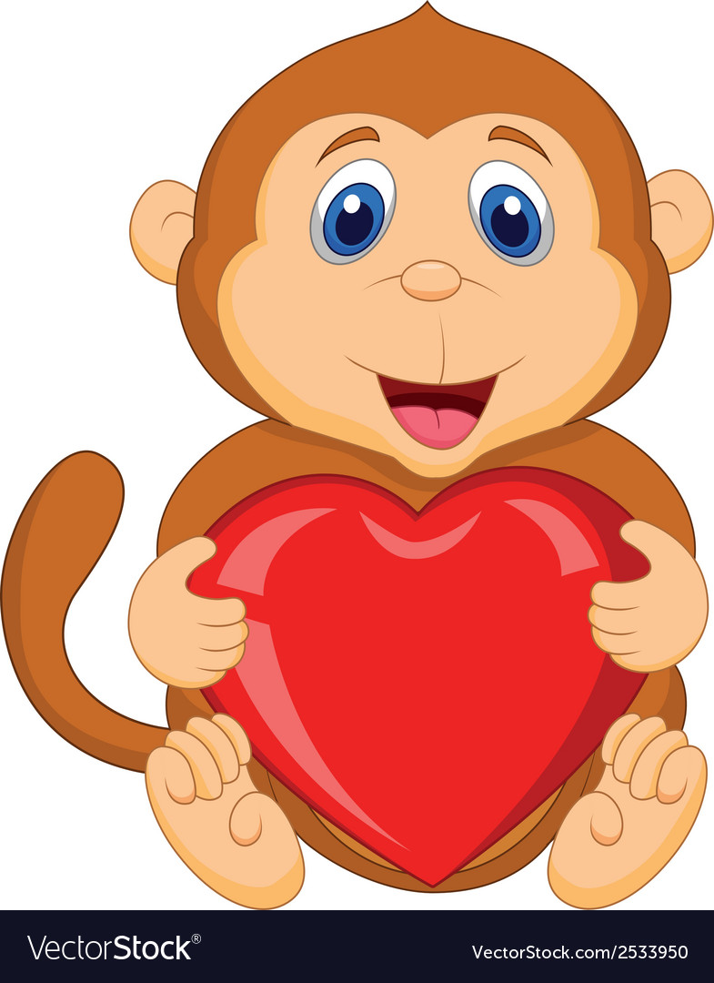 Cartoon monkey holding red heart vector | Price: 1 Credit (USD $1)