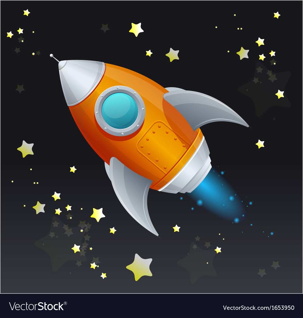 Comic cartoon rocket space ship vector | Price: 1 Credit (USD $1)