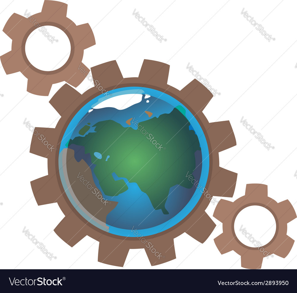 Earth in gears vector | Price: 1 Credit (USD $1)