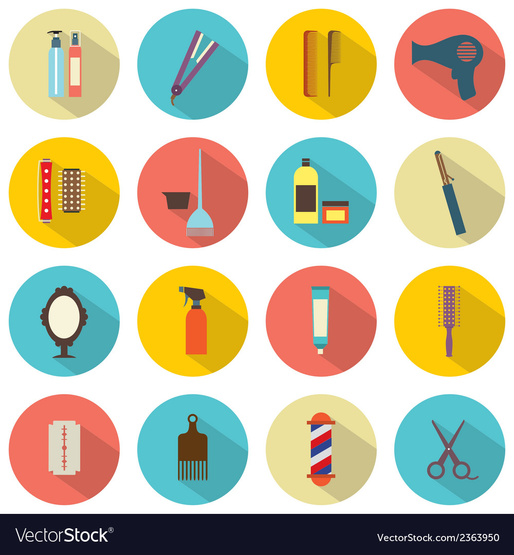 Flat design hairdressing icons set 16 vector | Price: 1 Credit (USD $1)