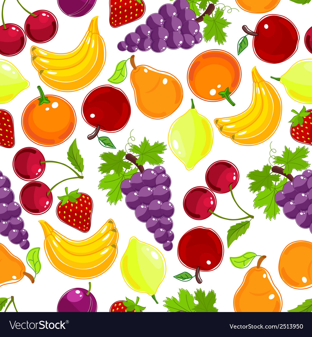 Fruits and berries seamless pattern vector | Price: 1 Credit (USD $1)