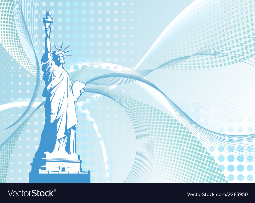 Halftone background with american statue of vector | Price: 1 Credit (USD $1)