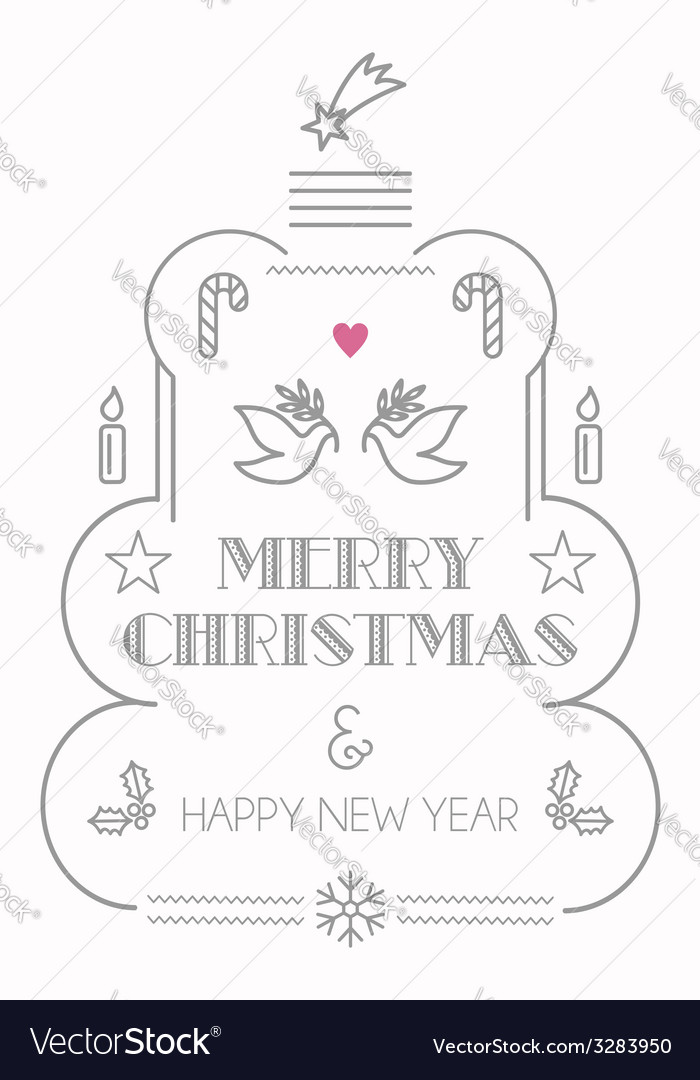Merry christmas line icons card vector | Price: 1 Credit (USD $1)