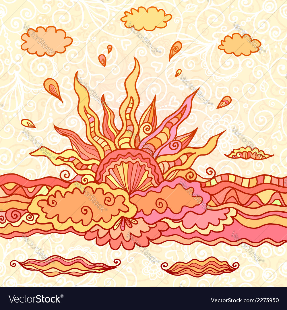 Ornate doodle rising sun vector | Price: 1 Credit (USD $1)