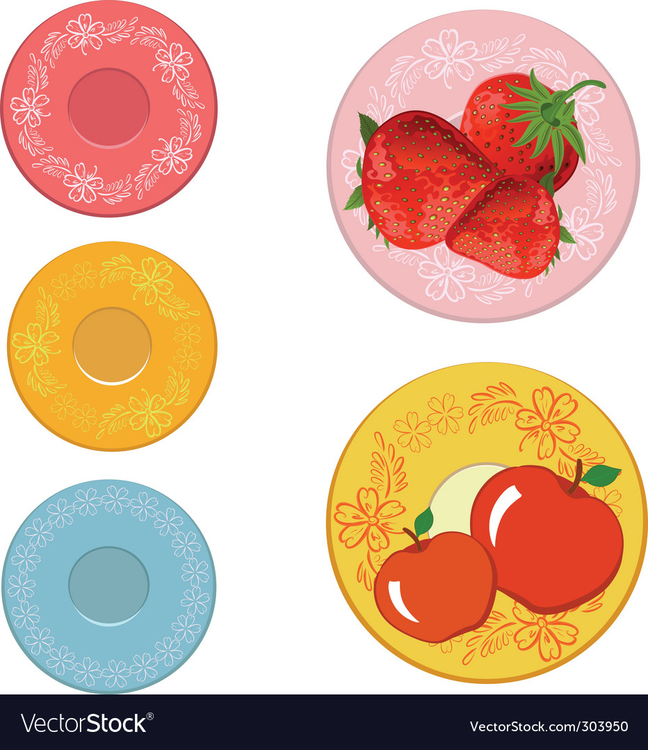 Plates with fruits vector | Price: 1 Credit (USD $1)