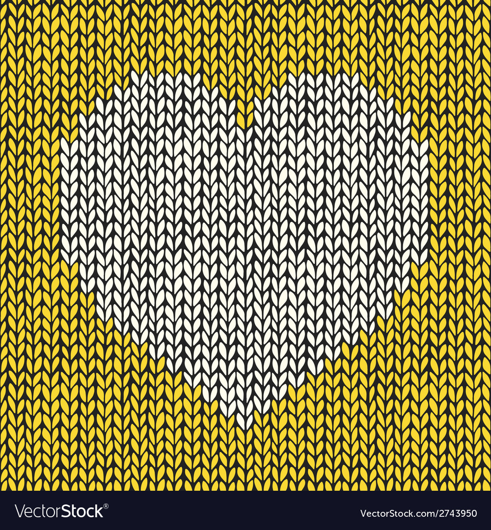 Seamless pattern with hand drawn knitted heart vector | Price: 1 Credit (USD $1)