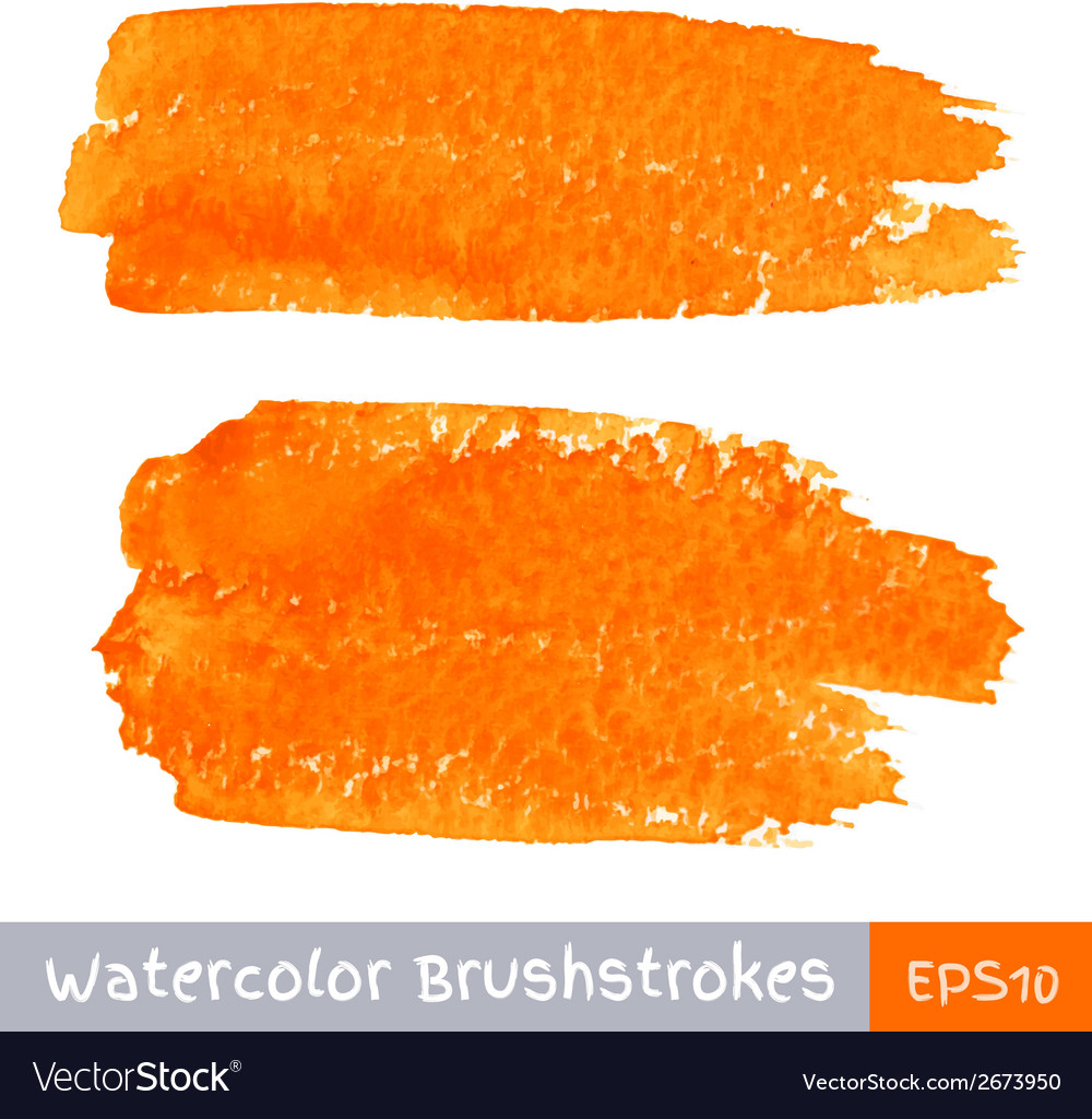 Set of orange watercolor brush strokes vector | Price: 1 Credit (USD $1)