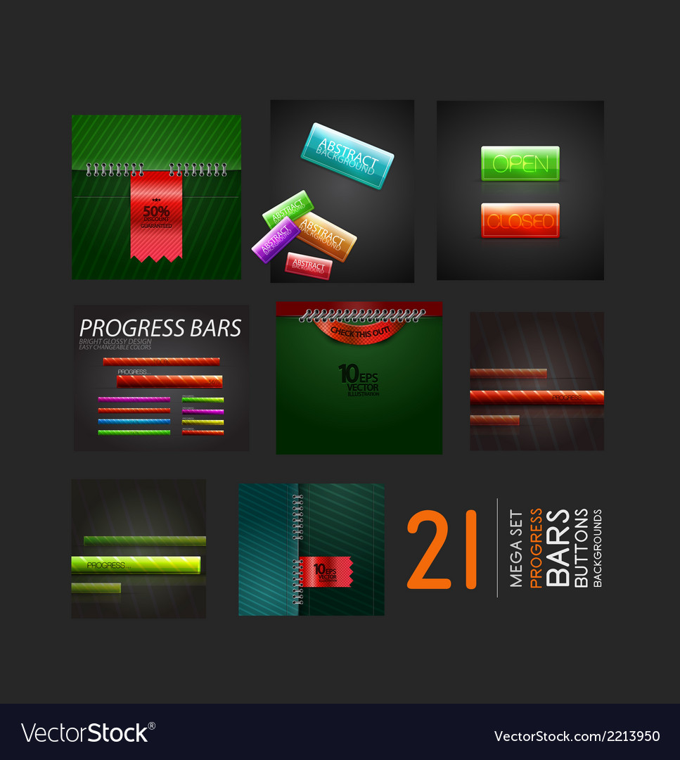 Set of progress bars buttons and backgrounds vector | Price: 1 Credit (USD $1)