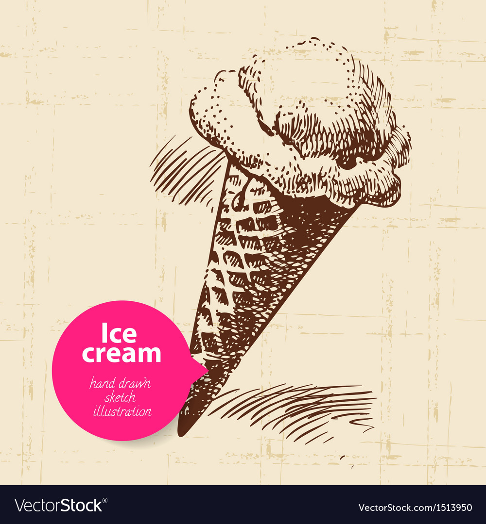 Vintage sweet ice cream background vector | Price: 1 Credit (USD $1)