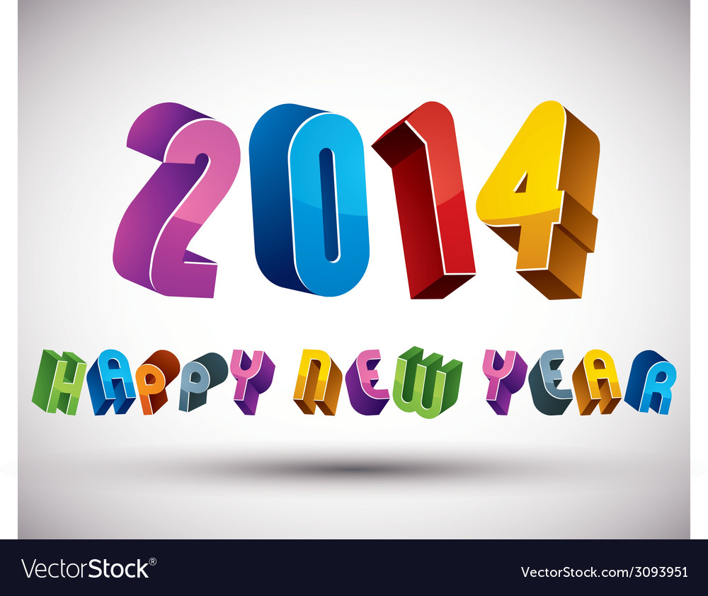 2014 happy new year card with phrase made with 3d vector   Price: 1 Credit (USD $1)