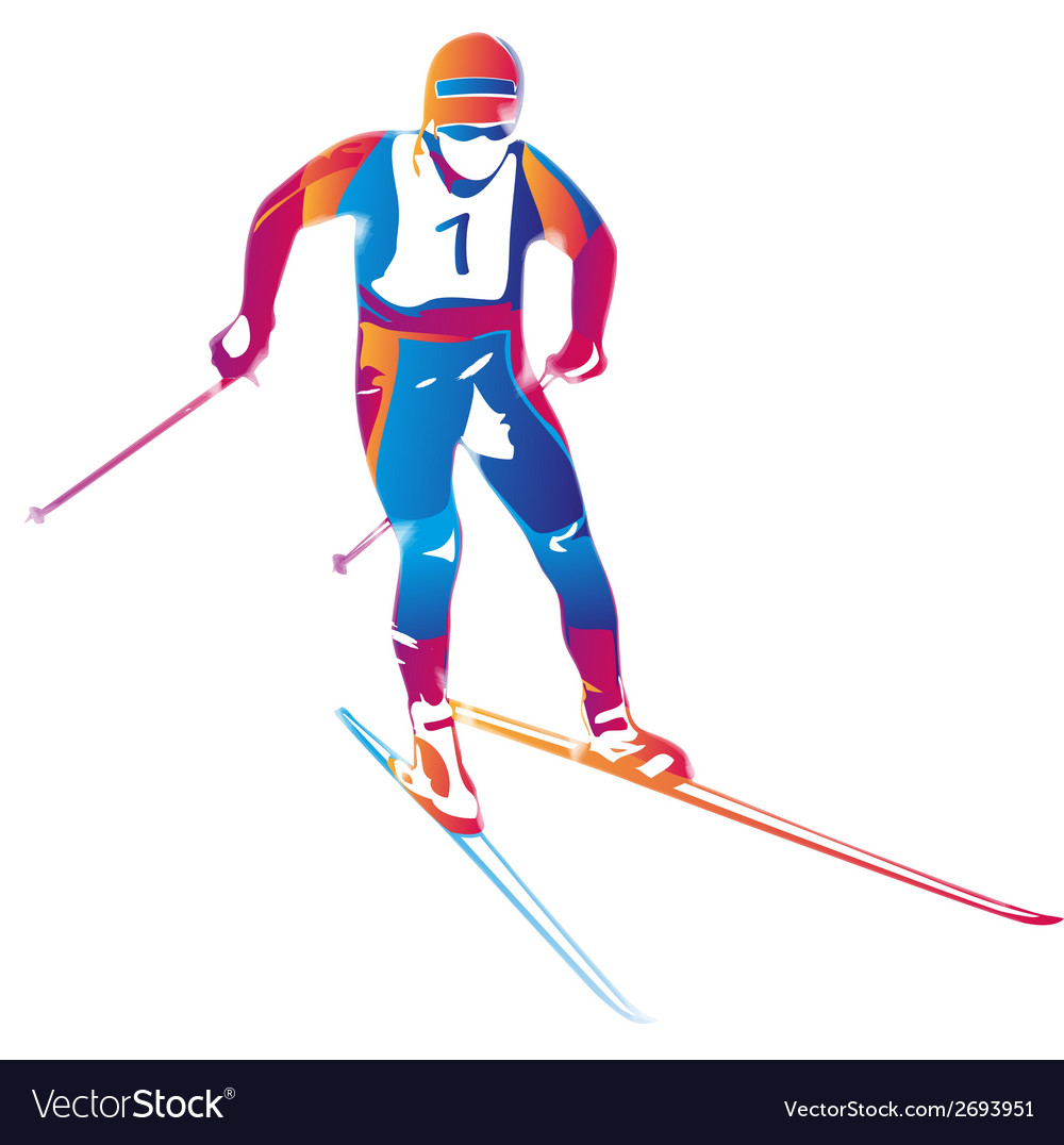 A colorful skier vector | Price: 1 Credit (USD $1)
