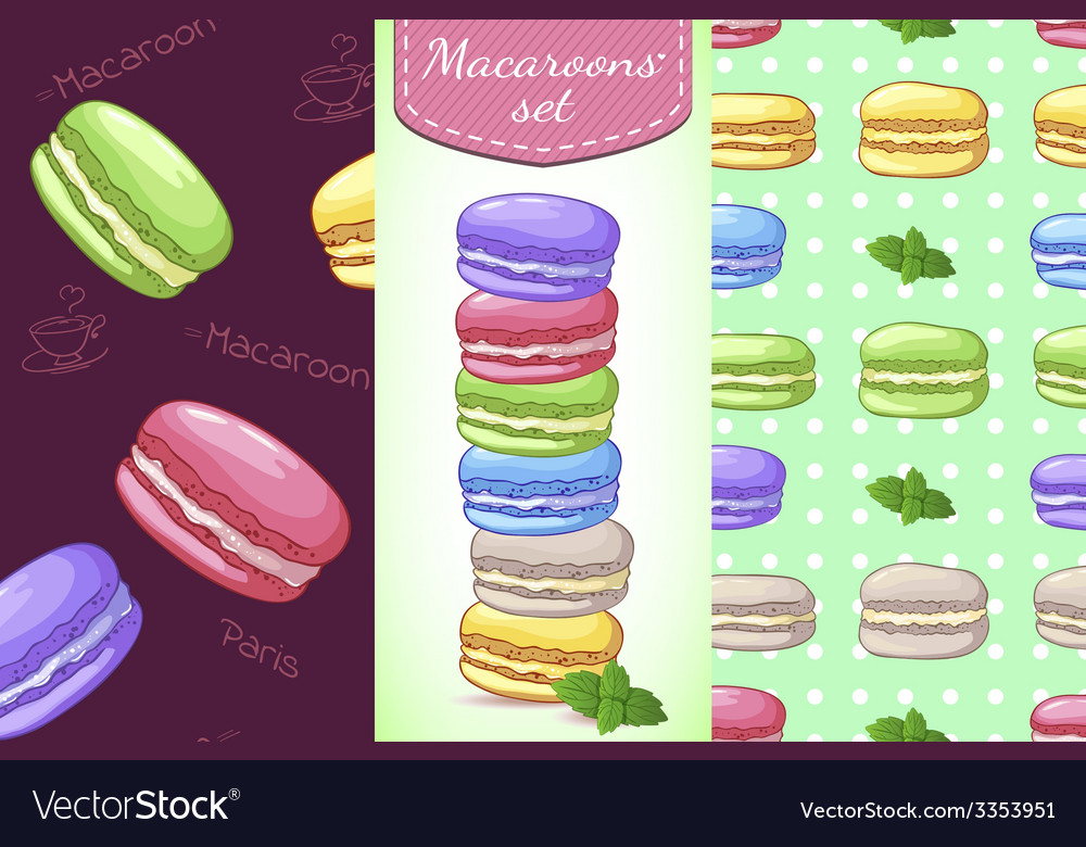 Beautiful set with french dessert macaroons two vector | Price: 1 Credit (USD $1)