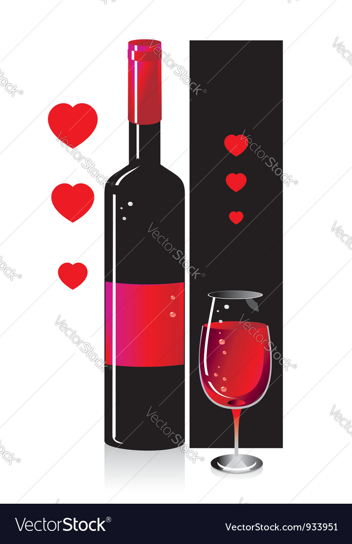 Composition from a bottle and a glass with red vector | Price: 1 Credit (USD $1)