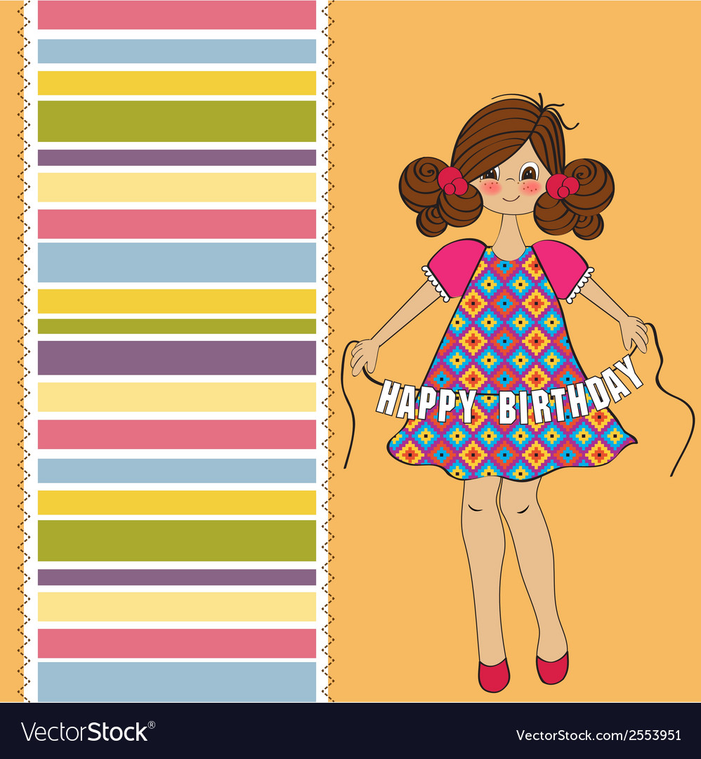 Cute little girl wishing you happy birthday vector | Price: 1 Credit (USD $1)