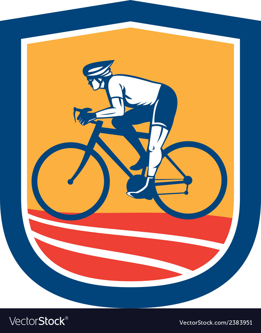 Cyclist riding bicycle cycling side view retro vector | Price: 1 Credit (USD $1)