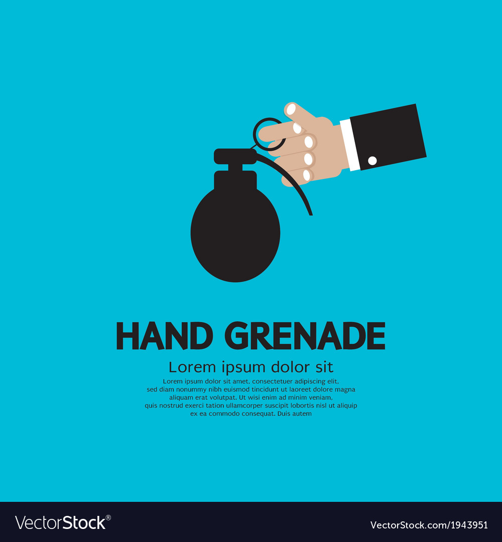 Hand holding a grenade vector | Price: 1 Credit (USD $1)
