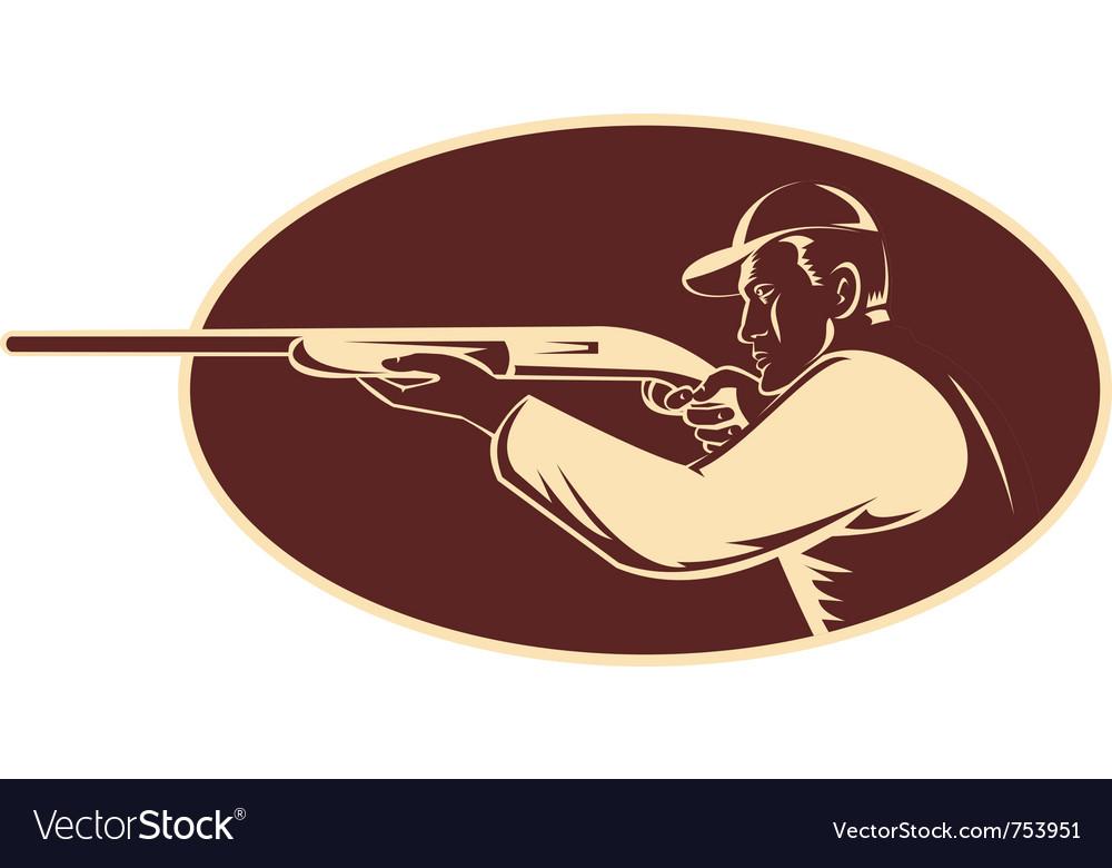 Hunter shooting aiming shotgun vector