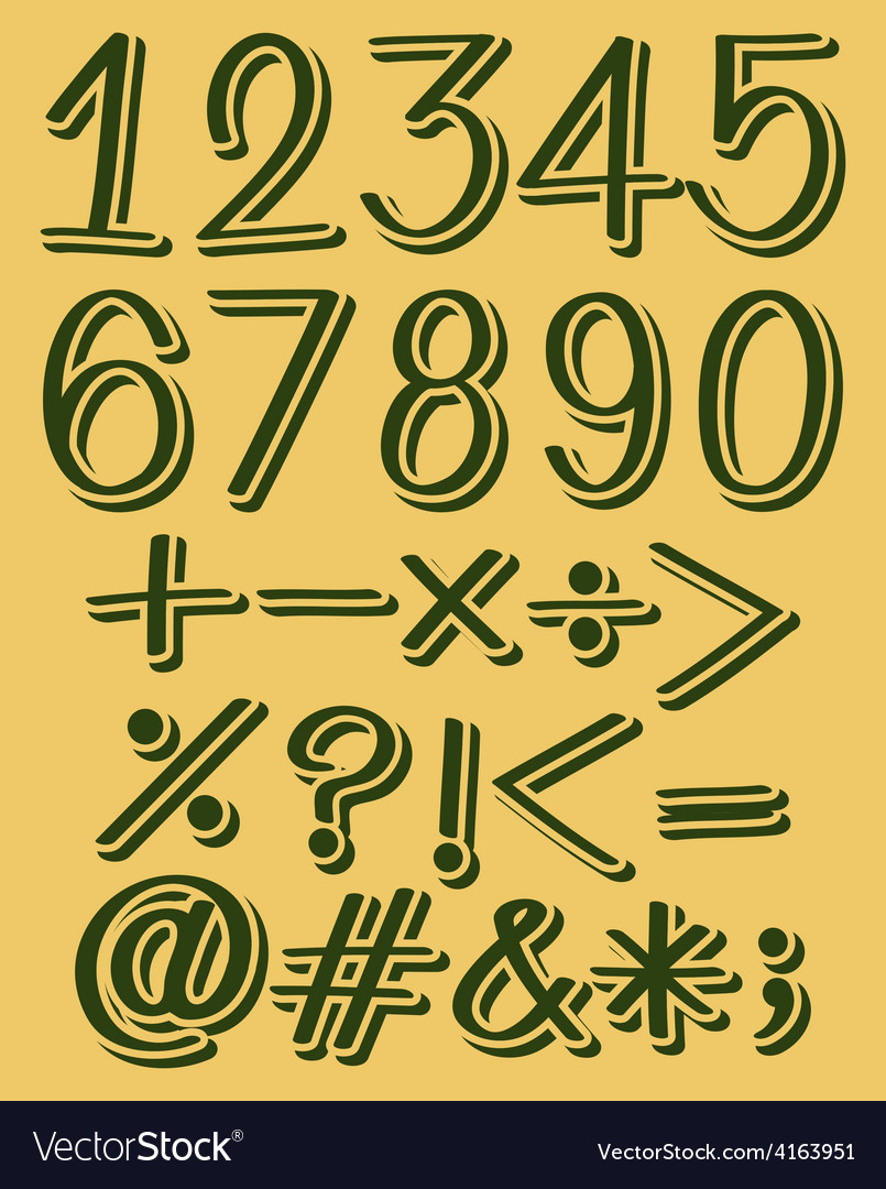 Numeric figures in green color vector | Price: 1 Credit (USD $1)