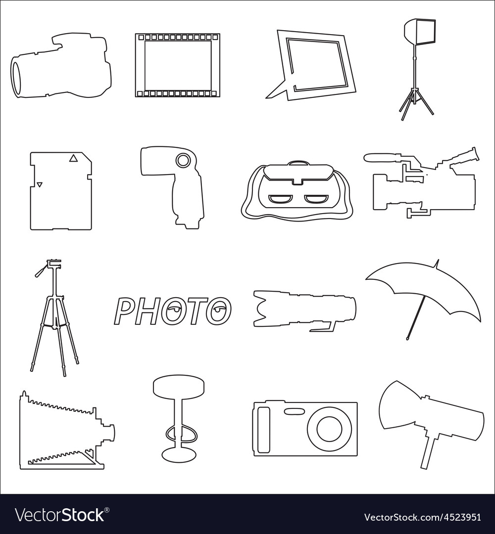 Photographic and camera simple outline icons eps10 vector | Price: 1 Credit (USD $1)