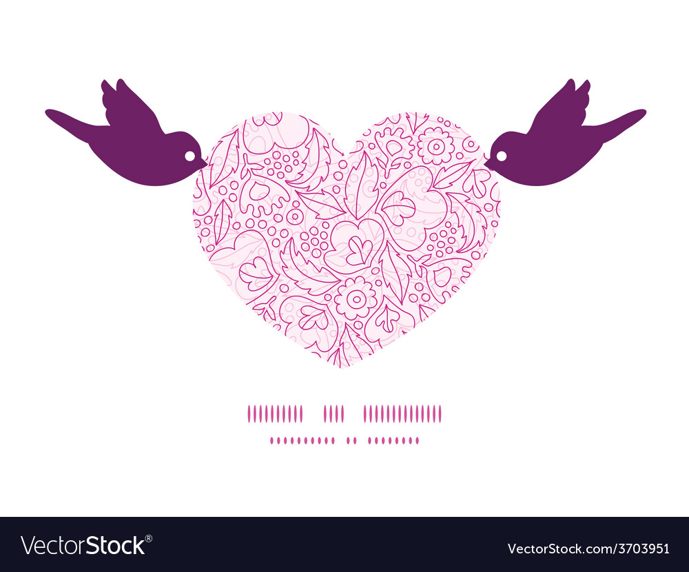 Pink flowers lineart birds holding heart vector | Price: 1 Credit (USD $1)